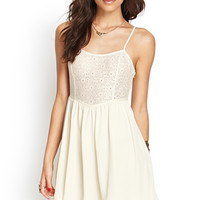 FOREVER 21 Floral Lace Cami Dress Cream