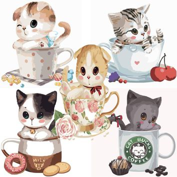 Coloring By Numbers on canvas Wall Art Paintings for living room Home Decor DIY acrylic paint Cute Animal pictures Cup Cat A030