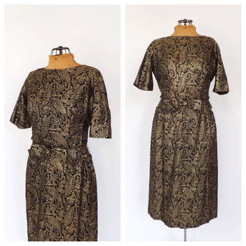 Vintage 1960s Black Gold Lame Brocade Dress Gold Embroidered Cocktail Dress Size Medium Prom Gown Party Dress Mad Men 60s Wiggle Dress