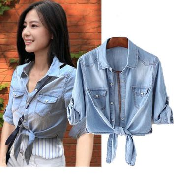 Summer bts Outerwear Womens crop tops Casual fashion Single-breasted Casaco Feminino Vadim short Denim Bomber jean Jacket 3XL