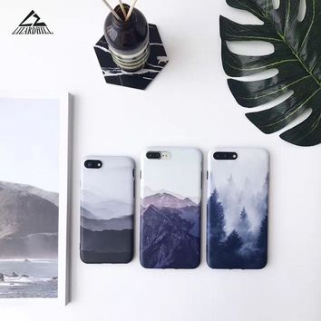 Lizardhill Fashion Soft Silicon imd Mountain Back Cover Case For Apple iPhone 7 6 6s Plus phone Cases For iPhone 6s coque fundas