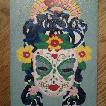 Mexican Sugar Skull Pointillism Painting home decor art wall hanging