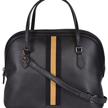 Gucci Women's 420023 Leather Web Stripe Convertible Dome Handbag (Black/Gold)