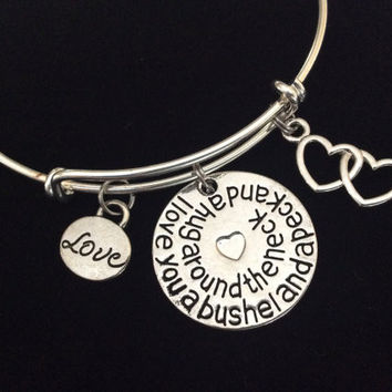 I Love You a Bushel and a Peck and a Hug Around the Neck Charm on a Silver Expandable Adjustable Bangle Bracelet Gift