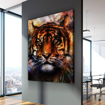 Vintage Tiger Painting Canvas Set