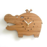 Hippo Modern Bamboo Wall Clock by decoylab on Etsy