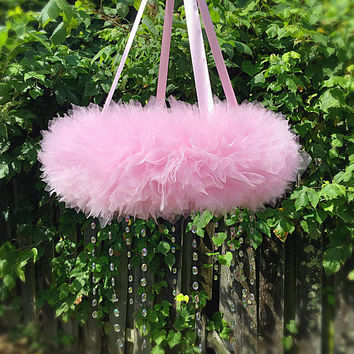 Extra Large Crystal Mobile, Baby, Nursery, Infant, Baby Pink Tulle, Crib, Hanging, Cot, Baby Girl, Best, Choose Your Own Colors, Custom