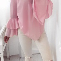 Pink Printed V-Neck Cross Chiffon Shirt