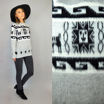 PERUVIAN SWEATER vtg 80's boho hippie ethnic jumper SHAGGY pullover, extra small-small