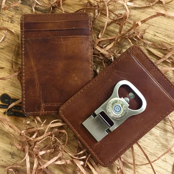 Learher Card Case with Bottle Opener