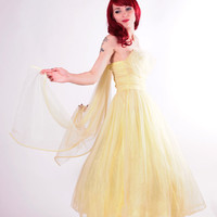 50s Dress -  Yellow Tulle Prom Gown with Pearl Bodice and Chiffon Drape - Small