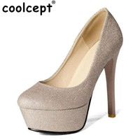 Coolcept Size 32-43 Women Spike High Heels Shoes Glitters Fashion Platform Classics Pumps Lady Party Wedding Heeled Footwears
