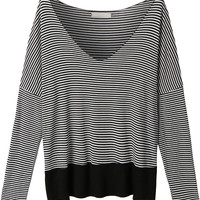 LE3NO Womens  V Neck Long Sleeve Striped Shirt