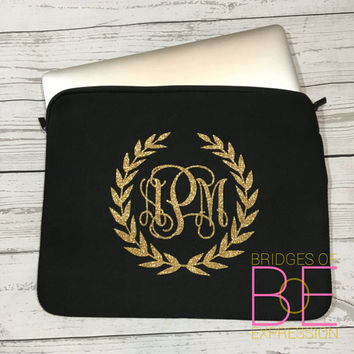 Glitter Monogrammed Neoprene Laptop Sleeve - Black