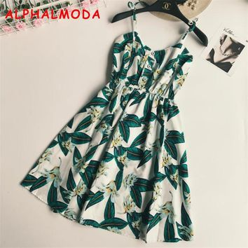 ALPHALMODA Summer Boho Print Strap Dress Bohemian Pineapple Printed Beach Women A-line Short Vocation Vestidos