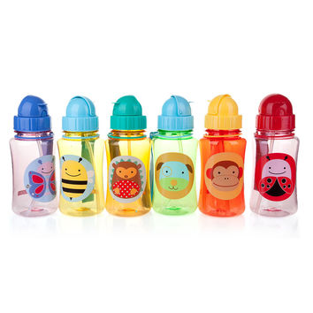 350ml Cute Sweet Animal Prin Cartoon Straw Bottle Type t Feeding Cup Non-toxic Water Bottle Drinking Bottle With Lid for Student