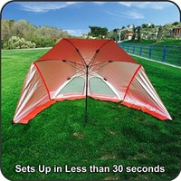 EasyGo Products Brella -The Ultimate 2 in 1 Umbrella, Beach Cabana Tent Sun Shelter - Sets up in Seconds, Red
