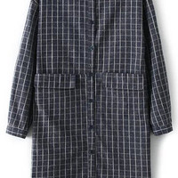 Black Plaid Twin Pockets Long Line Blouse