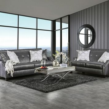 Furniture of america SM2252 2 pc massimo shined gray fabric upholstered sofa and love seat set