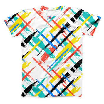 The Intersecting Vector Bright Strokes ink-Fuzed Unisex All Over Full-Printed Fitted Tee Shirt