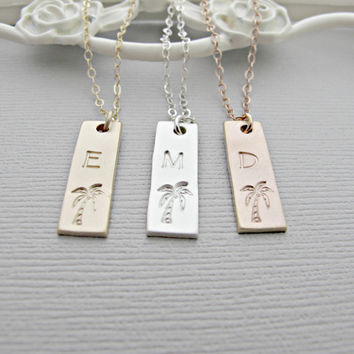 Small Bar Necklace, Skinny Bar Necklace, Silver, Gold, or Rose Gold Name Necklace, Personalized Bar Necklace, Monogram Bar