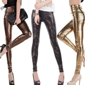 High Waist Sexy Leopard and Snake Animal Print Leggings for New Arrival Woman Fashion 2016