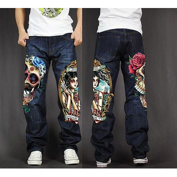 Men's 💀 👖 Baggy Loose Fit Casual Skull Jeans