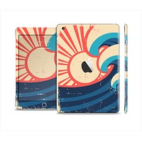 The Retro Vintage Blue vector Waves V3 Skin Set for the Apple iPad Mini 4