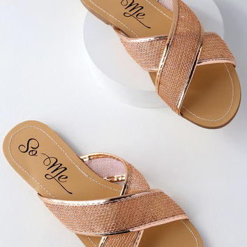 Portia Rose Gold Mesh Slide Sandals