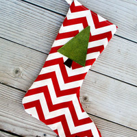 Red and cream chevron Christmas stocking with green felt tree