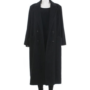 "Oversized Wool Coat 80s Clothing Black Maxi Coat Long Black Wool Coat Duster Jacket Made in the USA Vintage Clothing Women's Size L 44"" Bust"