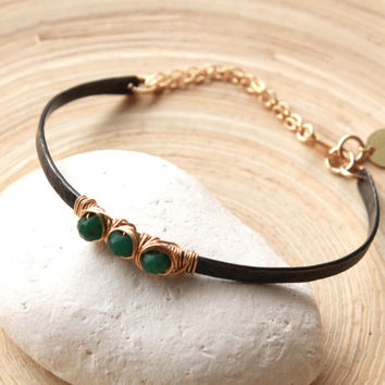 Birthstone bracelet, mixed metal. Black and gold bangle bracelet with emerald gemstone. Fashion jewelry-birthday gift for her. Trends 2015