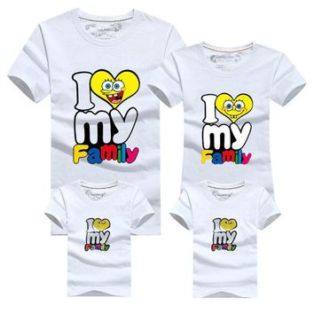ONETOW I love my Family T Shirts Summer Family Matching Clothes Father Mother & Kids Children Outfits Cotton Tees Girl Clothing Fashion