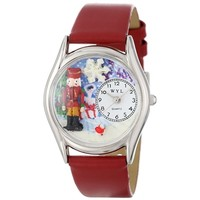SheilaShrubs.com: Women's Christmas Nutcracker Red Leather Watch S-1220007 by Whimsical Watches: Watches
