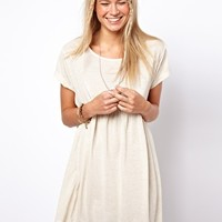 ASOS Smock Dress In Oatmeal Marl. at asos.com