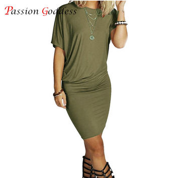 New Plus Size 2016 Summer Women Long T shirt Dress O neck Short Sleeve Solid Package Hip Mini Short Casual Dress Black ArmyGreen