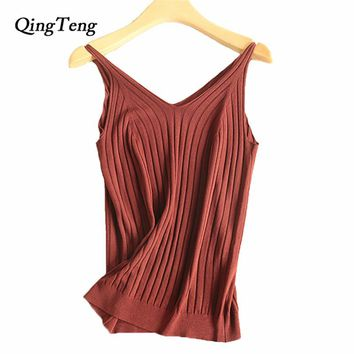 Crop Top Tank Women's White Black Summer Bodysuit Women Clothing Casual Shirts 2018 Knitted High Quality Sleeveless Blouse