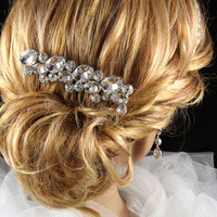 Dreamy- Wedding Hair Comb, Accessories, White, Rhinestones, Crystal, Swarovski, Czech crystal - Style 28