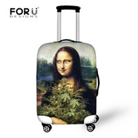 FORUDESIGNS Stylish Mona Lisa Luggage Suitcase Apply to 18-30 Inch Suitcase Elastic Luggage Protective Covers Travel Accessories