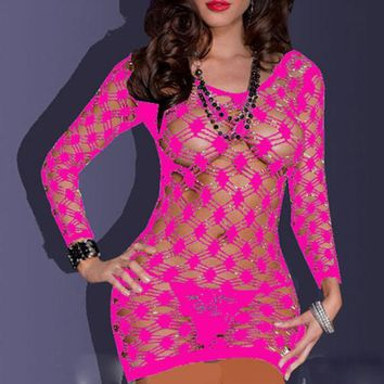 Fishnet Babydoll Mini Dress Set