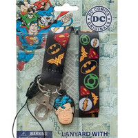 DC Comics Heroes Shield Logos Lanyard Keychain ID Holder With PVC Superman Charm