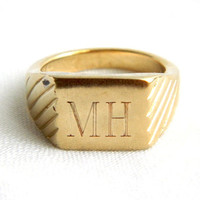 Vintage Mens Gold Plated Initial Signet Ring - Monogrammed Letter MH - SIGNED - Size 10