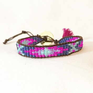 Navy, Purple, Mint and Fuchsia Beaded Loom Bead Friendship Bracelet with Signature Gold Plated Button Adjustable with Handmade Tasse