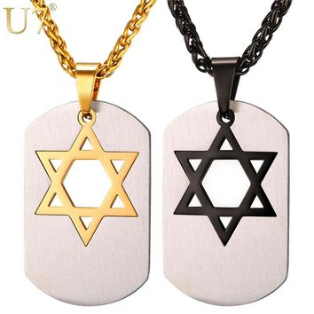 U7 Magen Star of David Necklace Men Gift Gold Color Stainless Steel Hip Hop Dog Tag Pendant & Chain Israel Jewish Jewelry P1038