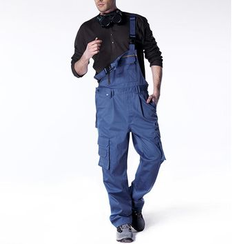 Aolamegs Men bib overall fashion vintage coveralls locomotive strap jumpsuit pants work uniform summer sleeveless overalls