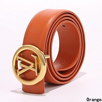 LV Louis Vuitton Woman Men Fashion Smooth Buckle Leather Belt Orange