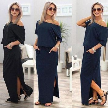 Fashion Woman Summer Boho Short Sleeve Side Split Dress Casual Solid Color Loose Long Dress Cotton Maxi Dress