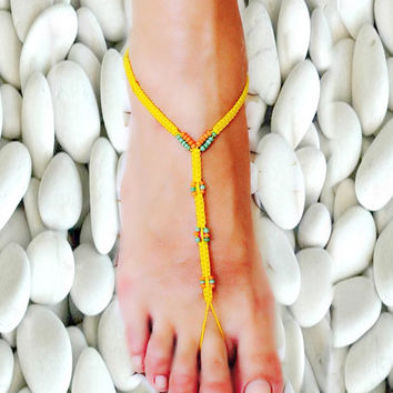 Barefoot Sandals Barefoot Beach Jewelry Seashells and gemstones Hippie Sandals Foot Jewelry Toe Thong