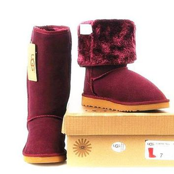 CHEN1ER UGG' Women Fashion Wool Snow Boots simple high boots Wine red