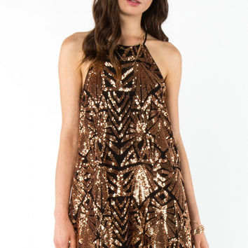 Sleeveless High Neck Geometric Sequin Swing Dress - Gold/Black